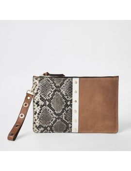 Brown Snake Print Leather Pouch Clutch Bag by River Island