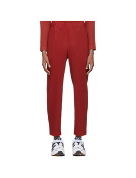 Red Pleated Tailored Trousers by Homme PlissÉ Issey Miyake