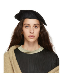 Black Pleated Beret by Pleats Please Issey Miyake