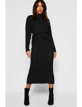 Cable Knit Jumper And Skirt Set by Boohoo