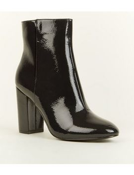 Black Patent Crinkle Ankle Boots by New Look