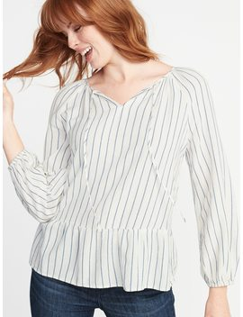 Striped Crepe Peplum Hem Swing Blouse For Women by Old Navy