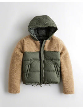 Sherpa Puffer Jacket by Hollister