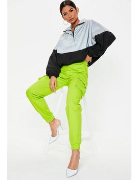 Lime Green Plain Cargo Trousers by Missguided