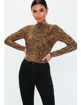 Brown Animal Plisse High Neck Long Sleeve Top by Missguided