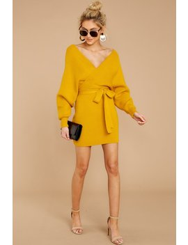 Think About It Mustard Sweater Dress by Petal Roz