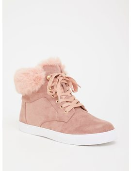 Blush Sneaker With Faux Fur Trim (Wide Width) by Torrid