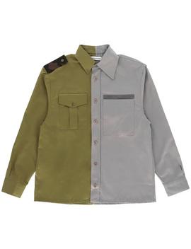 Bicolor Gabardine Shirt Grey / Green by Gosha Rubchinskiy
