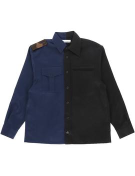 Bicolor Gabardine Shirt Navy / Black by Gosha Rubchinskiy