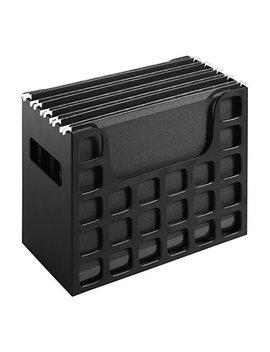 Pendaflex Portable Desktop File, Side Handles, Hanging File Folders, Tabs & Inserts, Letter Size, 9 1/2 Inches X 12 3/16 Inches X 6 Inches, Black (23013) by Pendaflex