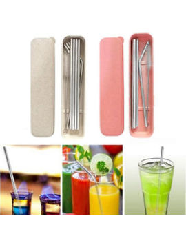 Stainless Steel Metal Drinking Straw Reusable Straws Set  + Cleaner Brush by Ebay Seller