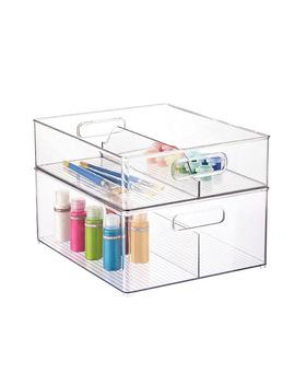 Inter Design Linus Clear Divided Stackable Bins With Handles by Container Store