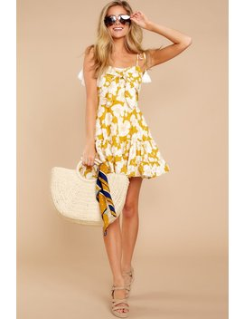 Golden Goddess Goldenrod Floral Print Dress by One And Only Collective
