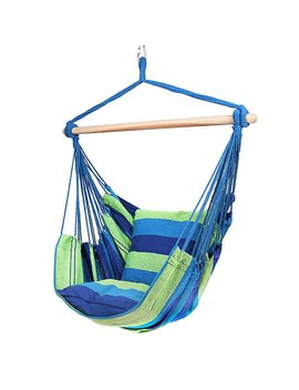 Blissun Hammock Chair, Hanging Chair, Swing Chair (Blue & Green Stripes) by Blissun