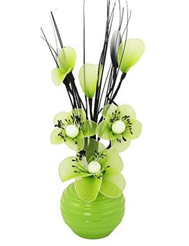 Flourish 705824 813 Green Vase With Lime Green Nylon Artificial Flowers In Vase, Fake Flowers, Ornaments, Small Gift, Home Accessories, 32cm by Flourish