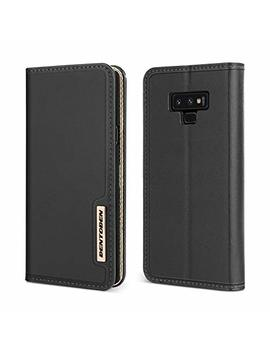 Bentoben Genuine Leather Wallet Case For Galaxy Note 9, Heavy Duty Rugged Protective Phone Case Cover With Flip Kickstand Credit Card Slot Cash Holder For Samsung Galaxy Note 9, Black by Bentoben