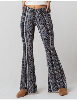 Sky And Sparrow Mixed Linear Print Womens Flare Pants by Sky And Sparrow