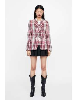 Jewel Button Tweed Jacket  Blazerswoman New Collection by Zara