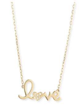 "14k Gold Diamond ""Love"" Necklace by Sydney Evan"