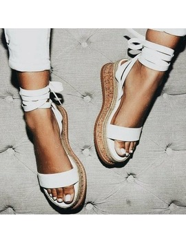 Summer White Wedge Women Sandals Open Toe Gladiator Sandals Women Lace Up Women Platform Sandals Casual Shoes Espadrilles 05 by Ork Tree