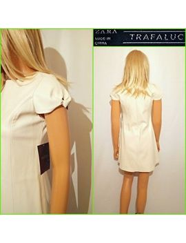 New Zara Trafaluc Size Uk M Cream Faux Leather Short Mini Short Sleeve Dress #P7 by Ebay Seller