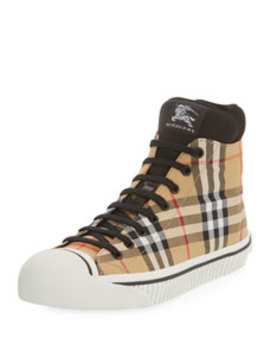 Men's Kilbourne Signature Check High Top Sneakers by Burberry