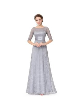 Ever Pretty Women's Elegant Lace Long Sleeve Summer Wedding Guest Bridesmaid Maxi Dresses 08878 For Women Grey 14 Us by Ever Pretty