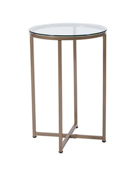 Flash Furniture Greenwich Collection Glass End Table With Matte Gold Frame by Flash Furniture