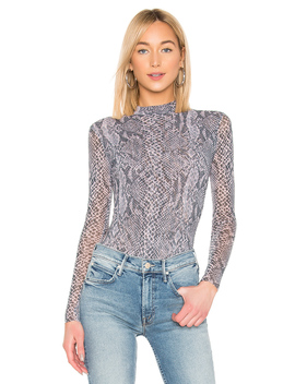 Python Tulle Mock Neck Bodysuit by Only Hearts