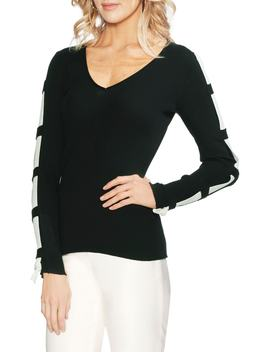 Contrast Sleeve Ribbed Sweater by Vince Camuto
