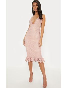 Navy Strappy Thick Lace Frill Hem Midi Dress by Prettylittlething