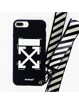 Off White Soft Phone Case Cover With Lanyard For I Phone 6 S 7 8 X 10 Black White by Ebay Seller