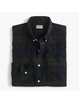 American Pima Cotton Oxford Shirt With Mechanical Stretch In Black Watch Tartan by J.Crew