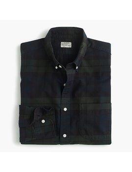 American Pima Cotton Oxford Shirt With Mechanical Stretch In Black Watch Tartan by J.Crew