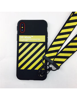 For I Phone Xs Max X 8 Phone Case Off White Zebra Stripes Soft Cover With Lanyard by Ebay Seller