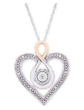 "Diamond Two Tone Heart 18"" Necklace (1/10 Ct. T.W.) In Sterling Silver And 10k Gold by Macy's"