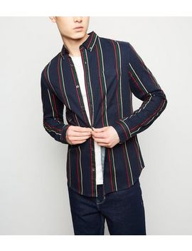 Navy Stripe Washed Twill Shirt by New Look