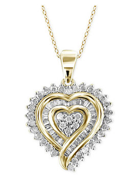 Diamond Heart Pendant Necklace (1/2 Ct. T.W.) In 18k Gold Over Sterling Silver by Macy's