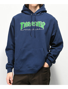 Thrasher Outlined Logo Navy Hoodie by Thrasher
