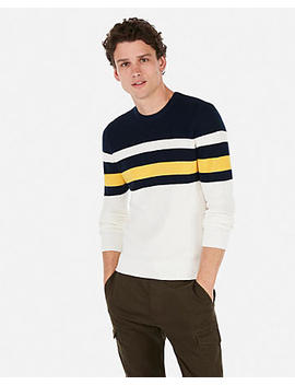Color Block Striped Crew Neck Sweater by Express