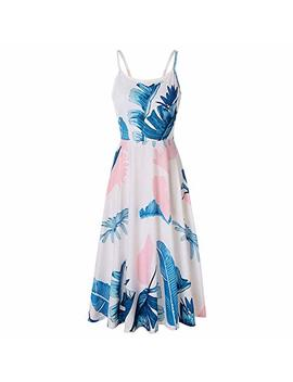 Chborchicen Women's Summer Backless Shoulder Straps Adjustable Casual Floral Printed Flared Swing Midi Dresses by Chborchicen