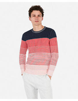 Plaited Ombre Striped Crew Neck Sweater by Express