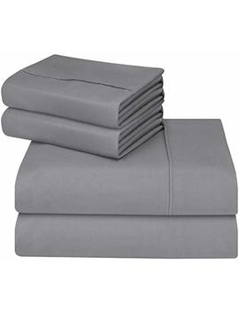 Utopia Bedding Bed Sheet Set   Soft Brushed Microfiber Wrinkle Fade And Stain Resistant 4 Piece Bedding Set (Queen,Grey) by Utopia Bedding