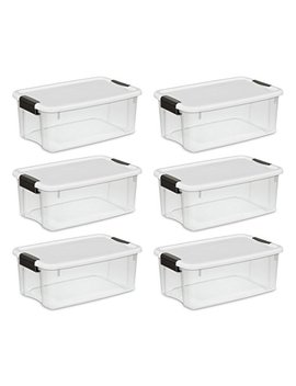 Sterilite 19849806 18 Quart/17 Liter Ultra Latch Box, Clear With A White Lid And Black Latches, 6 Pack by Sterilite