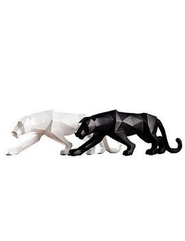 White Black Panther Sculpture Home Decor Mordern Abstract Resin Leopard Statue Geometric Ornament For House And Office (Black) by Siyan