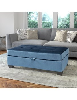 Antonio Velvet Upholstered Storage Ottoman by Cor Living