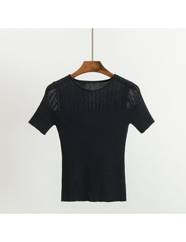 Gigogou Knitted Women T Shirt Summer Casual Short Sleeves Tees Top O Neck High Elasticity Sexy Female T Shirt by Gigogou