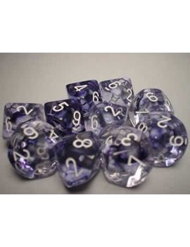 Chessex Dice Sets: Nebula Black With White   Ten Sided Die D10 Set (10) by Chessex Dice