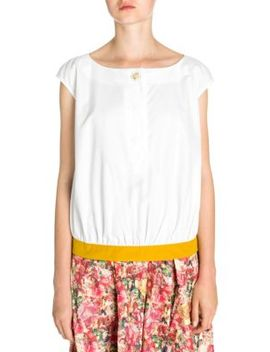 Cotton Poplin Cap Sleeve Blouse by Marni