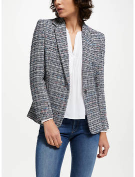 Helene For Denim Wardrobe Carine Tweed Blazer, Blue by Helene For Denim Wardrobe